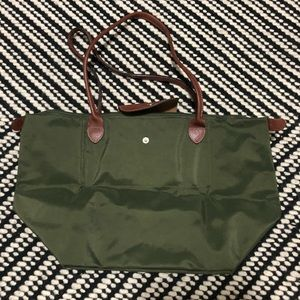 Longchamp Le Pliage Green Large Bag w/ Long Handle